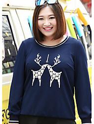 Sweatshirt Femme Grandes Tailles Décontracté / Quotidien simple Léopard Col Arrondi Micro-élastique Coton Polyester Manches Longues