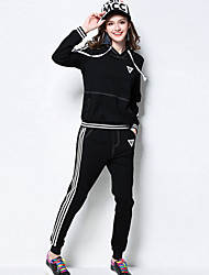 Women's Casual/Daily / Plus Size Active Fall Set Pant Suits,Striped Hooded Long Sleeve Black Rayon / Nylon / Spandex Medium