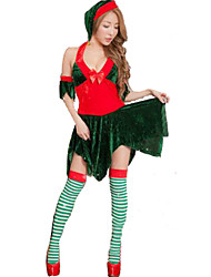 Festival/Celebração Trajes da Noite das Bruxas Verde Cor Única Vestido / Mais Acessórios Natal Feminino