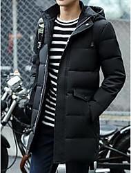 Masculino Casaco Acolchoado,Simples Sólido Para Noite / Casual-Algodão Penas de Ganso Branco Manga Longa Preto / Cinza
