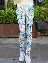 Women's Skinny Jeans Pants,Casual/Daily Street chic Print Mid Rise Button Cotton / Polyester / Spandex Micro-elastic Fall / Winter