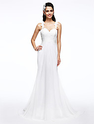 LAN TING BRIDE A-line Wedding Dress Beautiful Back Sweep / Brush Train Straps Chiffon Lace with Appliques