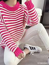 Damen Standard Pullover-Ausgehen Lässig/Alltäglich Einfach Niedlich Gestreift Rot Schwarz Grau Rundhalsausschnitt Langarm Baumwolle Herbst
