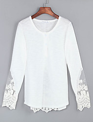 Women's Sexy Lace Cute Plus Sizes Micro  Elastic Long Sleeve Regular Shirt (Lace/Cotton)