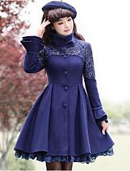 Feminino Casaco Informal / Casual Sofisticado Inverno,Sólido Azul Lã Colarinho Chinês-Manga Longa Média
