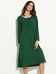 Women's Casual/Daily Street chic Loose Thin Dress,Solid Midi Long Sleeve Blue / Red / Green Cotton / Linen Fall