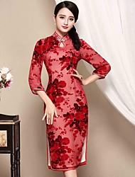 Feminino Bainha Vestido,Casual Temática Asiática Jacquard Colarinho Chinês Altura dos Joelhos Manga ¾ Vermelho Poliéster OutonoCintura