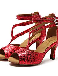 Chaussures de danse(Rouge / Argent / Or) -Non Personnalisables-Talon Aiguille-Synthétique-Latine / Jazz