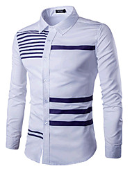 Chemise Hommes,Couleur Pleine Habillées / Travail simple / Chinoiserie Printemps Manches Longues Col Officier Bleu / Blanc / Noir Coton