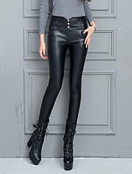 Feminino Skinny Chinos Calças-Cor Única Casual Sexy Cintura Alta Com Cordão PU Micro-Elástico Outono / Inverno