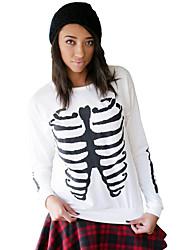 Tee-shirt Femme,Imprimé Décontracté / Quotidien simple Automne Manches Longues Col Arrondi Blanc Polyester / Spandex Fin