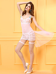 Women's Chemises & Gowns / Gartered Lingerie Nightwear Lace Jacquard-Thin Mesh / Spandex White