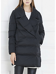 Women's Long Down Coat,Sexy Simple Going out Casual/Daily Holiday Solid-Polyester White Duck Down Long Sleeve Shirt Collar