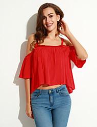 Damen Solide Retro Lässig/Alltäglich T-shirt,Gurt Sommer Kurzarm Rot / Schwarz Baumwolle Mittel
