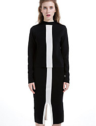Women's Casual/Daily Simple Skirt Suits,Geometric Turtleneck Long Sleeve Black Wool