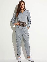 Women's Solid Gray Hoodies , Sexy / Cute Hooded Long Sleeve