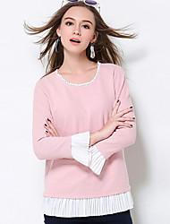 Damen Lang Pullover-Lässig/Alltäglich Einfach Patchwork Rosa Rundhalsausschnitt Langarm Baumwolle Polyester Herbst Winter Mittel