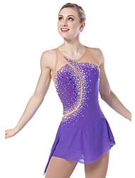 Ice Skating Dress Women's Sleeveless Skating Dresses High Elasticity Figure Skating Dress Breathable / Comfortable Lace Elastane Purple