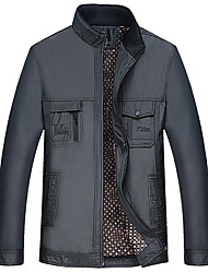 Men's Casual/Daily Simple JacketsSolid Stand Long Sleeve Fall Blue / Gray/ Cotton Medium k295