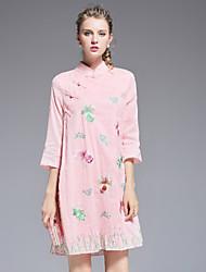 Ample Robe Femme Décontracté / Quotidien Chinoiserie,Broderie Col Roulé Au dessus du genou ½ Manches Rose Polyester Automne Taille Haute