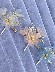 Women's Pearl / Rhinestone / Alloy / Chiffon Headpiece-Wedding / Special Occasion Hair Combs / Flowers / Hair Clip 1 Piece