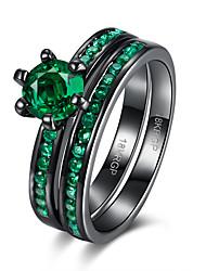 Anéis Halloween / Casamento / Festa / Diário / Casual / Esportes Jóias Cobre / Vidro Feminino Anéis Statement 1peça,6 / 7 / 8 Verde