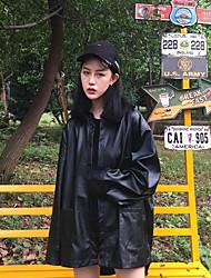 корейская версия оригинальной конструкции контурной шикарный аромат Гонконге большой большой черный кожаный жакет рубашка знак