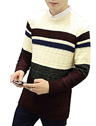 Men's Going out Casual/Daily Work Vintage Cute Street chic Regular Pullover,Solid Striped Color Block White Beige Brown Round NeckLong
