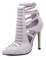 Women's Heels Summer Ankle Strap Leatherette Dress Stiletto Heel Zipper Black Purple