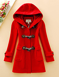 Women's Casual/Daily Simple Coat,Solid Hooded Long Sleeve Fall Blue / Red Wool