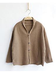 Pull & Cardigan Décontracté / Quotidien Couleur Pleine Coton Acrylique Hiver Automne Manches longues Normal