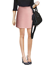 Women's Bodycon Solid Skirts,Casual/Daily High Rise Knee-length Zipper Polyester Micro-elastic Fall / Winter