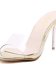 Damen-Sandalen-Lässig-Polyester-Stöckelabsatz-Fersenriemen-Silber / Gold