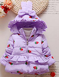 Girl's Cotton Winter Fashion Casual/Daily Cartoon Strawberry Print Thicken Keep Warm Hoodie Cotton-Padded Coat
