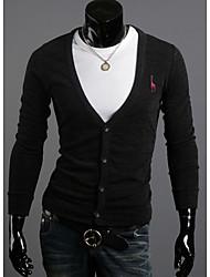 Men's Casual/Daily Simple Regular Cardigan,Jacquard Blue / Red / Black / Brown / Gray V Neck Long Sleeve Wool Spring / Fall Medium