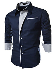 Men's Casual/Daily / Formal / Work Simple All Seasons Shirt,Solid Shirt Collar Long Sleeve Multi-color Cotton Medium