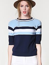 Damen Standard Pullover-Ausgehen Lässig/Alltäglich Einfach Street Schick Gestreift Einfarbig Blau Rundhalsausschnitt ½ Länge Ärmel