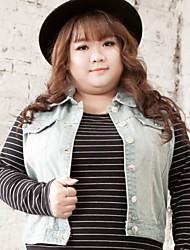 Feminino Jaquetas Jeans Casual / Tamanhos Grandes Simples Outono,Bordado Azul Algodão / Poliéster Colarinho de Camisa-Sem Manga