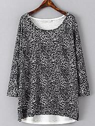 Damen Standard Pullover-Lässig/Alltäglich Ausgehen Einfach Punkt Einfarbig Patchwork Schwarz Rundhalsausschnitt Langarm Kunst-Pelz