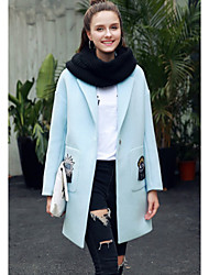 Women's Casual/Daily Simple Coat,Solid Shirt Collar Long Sleeve Spring / Fall Blue Polyester Medium