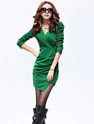 Women's Casual/Daily / Work / Party/Cocktail Sexy / Street chic / Sophisticated A Line / Bodycon / Sheath Dress,Solid V Neck MiniLong