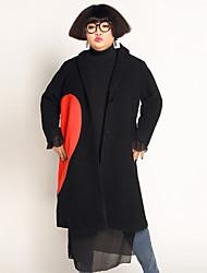 Damen Druck Einfach Lässig/Alltäglich / Übergröße Mantel,Winter Gekerbtes Revers Langarm Schwarz Wolle / Polyester