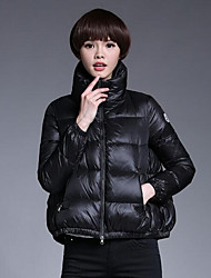 Women's Short Down Coat,Simple Casual/Daily Solid-Polyester White Duck Down Long Sleeve Stand Blue / Pink / Black