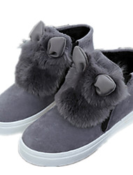 Women's Boots Winter Comfort Patent Leather Casual Flat Heel Black / Gray / Animal Print
