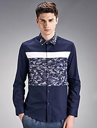 Men's Work / Sports Vintage / Street chic Shirt,Print Shirt Collar Long Sleeve Multi-color Cotton