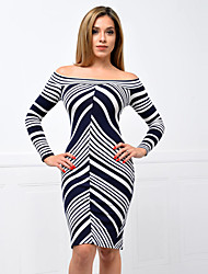 Women's Casual/Daily Sexy / Street chic Bodycon Split Backless DressPrint Boat Neck Above Knee Long Sleeve