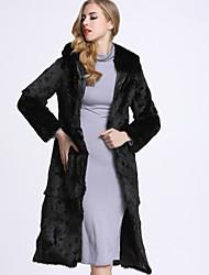 Feminino Casaco de Pêlo Casual Sofisticado Inverno,Sólido Preto Pêlo de Coelho Rex Com Capuz-Manga Longa