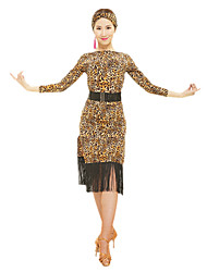 Latin Dance Dresses Women's Performance Polyester Tassel(s) / Animal Print 2 Pieces Long Sleeve High Waist Belt / Dress