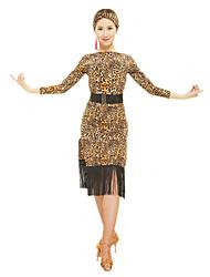 RobesPolyesterFemme Frange (s) / Imprimé animal Spectacle Danse latine Taille haute