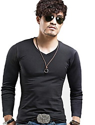 Men's Going out Simple Fall T-shirt,Solid V Neck Long Sleeve Multi-color Cotton Medium